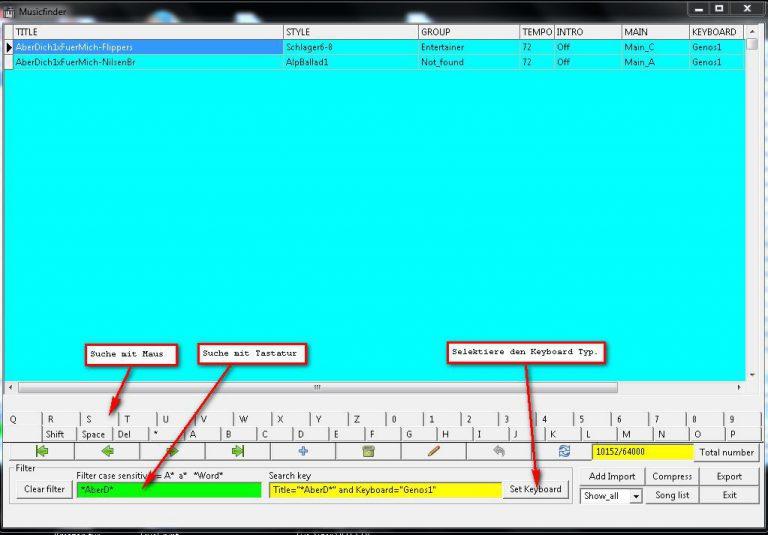 MusikFinder: Titel suche über die gesamte Datenbank mittels Maus-Tastatur oder PC Tastatur. *AberD*