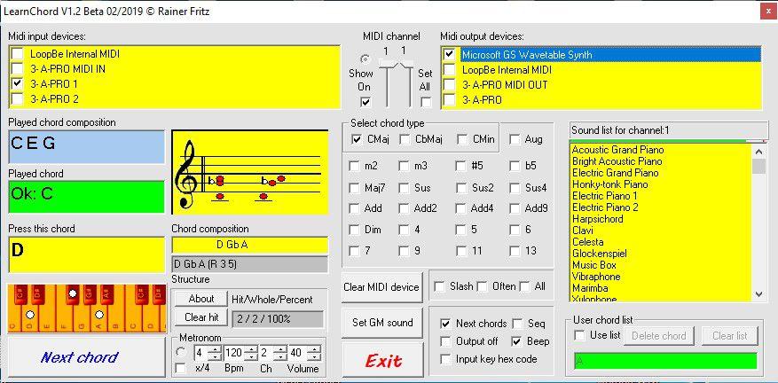 """Sound Auswahl bei der Verwendung der """"Microsoft GS Wavetable Synth"""" Schnittstelle."""