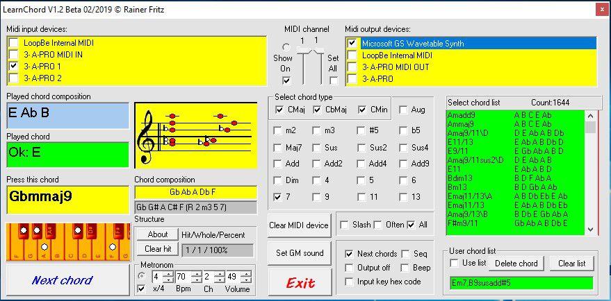 """Markiere das """"Microsoft Gs Waveetable Synth Device"""" um den Sound zu hören, wenn keine weitere Software zu Klangerzeugung verwendet wird."""