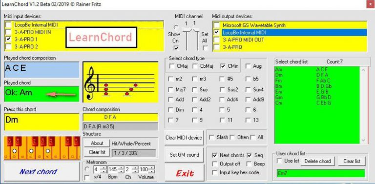 LearnChord: Weiterleitung an ein Externes Klangerzeugungs- Programm mittels MIDI Thru.