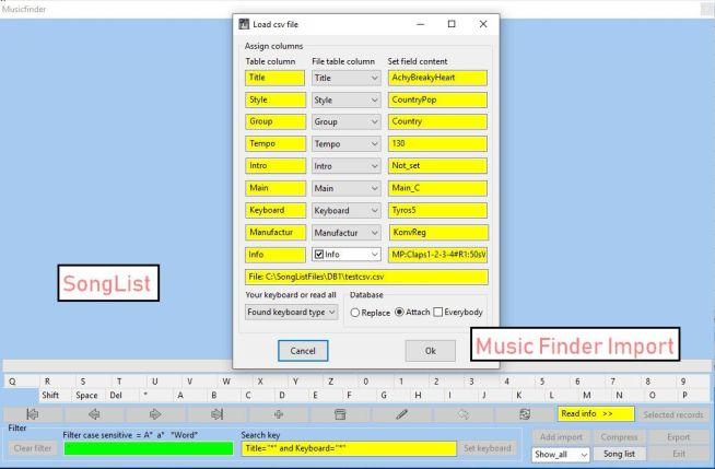 SongList/MusikFinder: Import beliebiger CSV Dateien anderer User oder Internet.