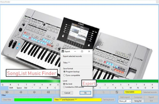 SongList/MusikFinder: Export und Backup Ihrer Musikfinder Einträge.